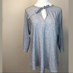 OSKA heathered blue blouse w/tie neck
